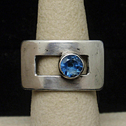 Silver Ring Blue Stone MCM Size 6.5