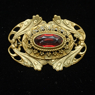 Antique Pin with Red Stone Fishel Nessler