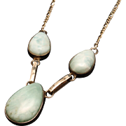 Sterling Silver Amazonite Necklace Vintage Italy