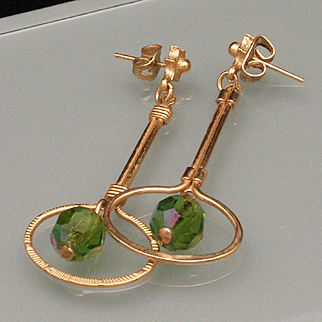 Drop Earrings with Green AB Stone Vintage