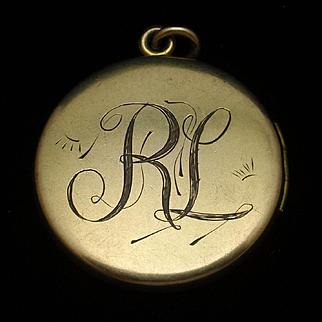 RL Hand-Engraved Locket Vintage Gold Filled F&B