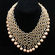 Trifari Pink Bib Necklace Vintage 1969 Fishnet