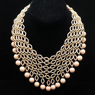 Trifari Pink Bib Necklace Vintage 1969 Fishnet