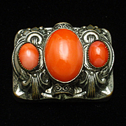 Red Cabs Brooch Pin Vintage Czechoslovakia
