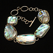 Abalone and Sterling Silver Bracelet Vintage