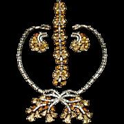 Trifari Rhinestones Set Necklace Bracelet Earrings Vintage Fall Colors Exceptional