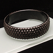 Black on Black Rhinestone Bangle Bracelet Vintage