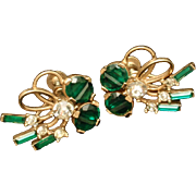 Emerald Rhinestones Vintage Earrings