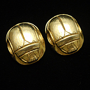 Scarab Earrings Vintage Clips Kenneth Jay Lane KJL