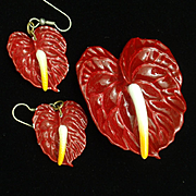 Anthurium Flower Pin and Earrings Set Vintage
