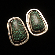 Turquoise Sterling Silver Post Earrings Hallmarked B