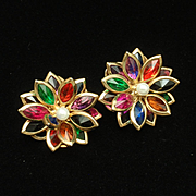 Multi-Colored Flower Earrings Posts Pierced Ears