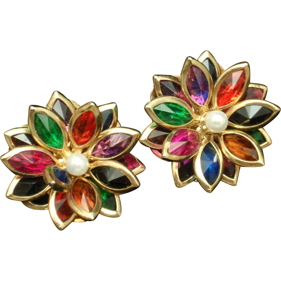 Multi colored flower earrings posts pierced ears from for How to make multi colored flowers
