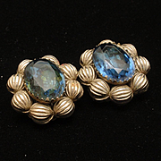 Vintage Earrings Blue Stones