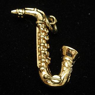 Saxophone Instrument Charm Vintage Gold Tone