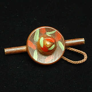 Wooden Hat Pin Vintage Novelty Jewelry