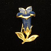 Blue Flower Pin Vintage Enamel