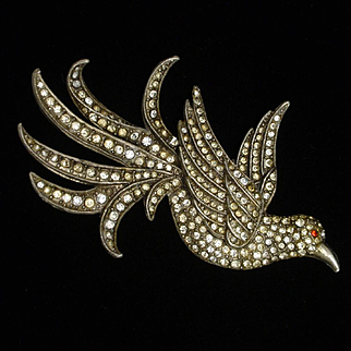 Rhinestone and Pot Metal Bird Pin Vintage