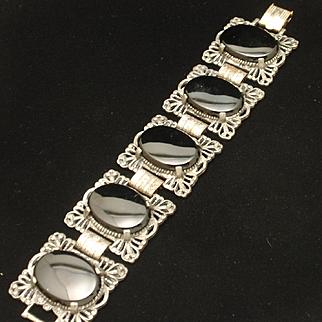 Vintage 5-Section Bracelet Large Black Stones