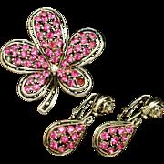 Unsigned Set Brooch Pin Earrings Pink Rhinestones Vintage
