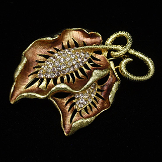 Unsigned Double Leaf Brooch Pin Vintage Rhinestones