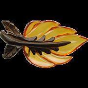 Leaf Pin Vintage Apple Juice Bakelite and Wood