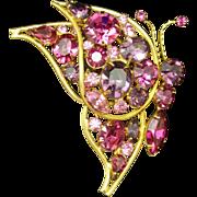 Pink Rhinestones Butterfly Brooch Pin Vintage