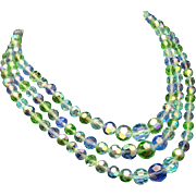 Triple Strand Faceted Glass Beads Necklace Tropical Colors Germany