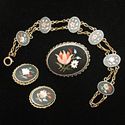 Pietra Dura Suite Bracelet Brooch Earrings Vintage
