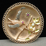Scenic Pendant Bird Guarding Nest of Eggs 14k Yellow Gold Ruby Pearl