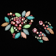 Candy Colored Brooch Pin & Earrings Japanned Rhinestones Vintage