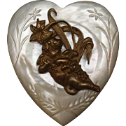Mother-of-Pearl Heart Pin with Angel