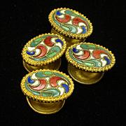 Enamel over Brass Button Studs Vintage