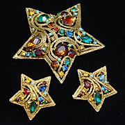 5-Pointed Star Set Rhinestones Pin & Earrings Vintage