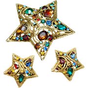 5-Pointed Star Set Rhinestones Pin & Earrings Vintage