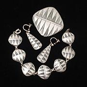 1956 Swedish Set Pin Earrings Bracelet Moderne Geometric Pewter Sweden