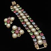 3-Row Bracelet Earrings Set Imitation Pearls Rhinestones Vintage