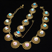 Vendome Necklace Earrings Set Large AB Rivoli Stones Vintage