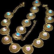 Vendome Necklace Earrings Set Large AB Rivoli Stones Vintage