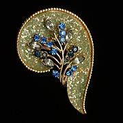 Coro Rhinestone Paisley Brooch Pin Vintage Coralene