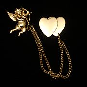 Cupid and Hearts Chatelaine Brooch Pin Vintage Coro