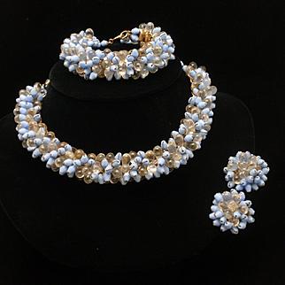 Vintage Necklace Bracelet Earrings Set Blue
