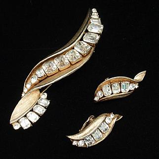 Large Rhinestones Brooch Pin Earrings Set Vintage Coro