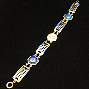 Vintage Enamel Bracelet with Art Glass Stones