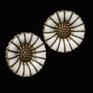 Daisy Earrings Vintage Sterling Silver Enamel Anton Michelsen Denmark