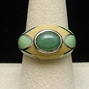 Sterling Silver Enamel Green Stone Fashion Ring THL