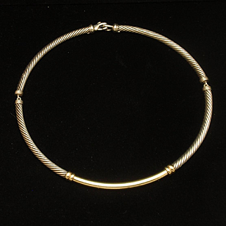 Yurman Cable Necklace Combo Sterling Silver 14k Yellow Gold