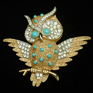 Owl Pin Beads Rhinestones Trifari Bird Brooch Vintage