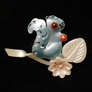 Squirrel Brooch Pin Vintage Lightweight Plastic Figural
