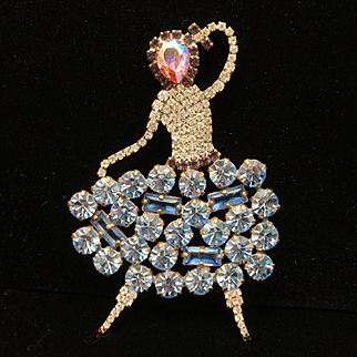 Woman in Party Dress Brooch Pin Rhinestones Figural